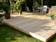 wooden garden decking and garden landscaping